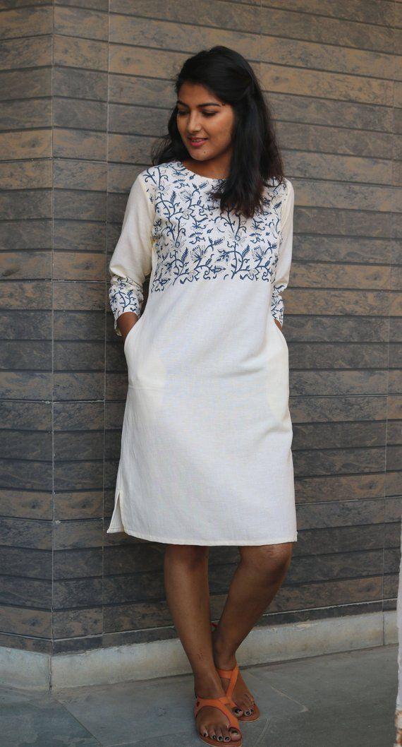 0b7c7bfbecc Off-white linen tunic dress for women Linen shift dress Hand block print  dress  Linen tunic dress ma