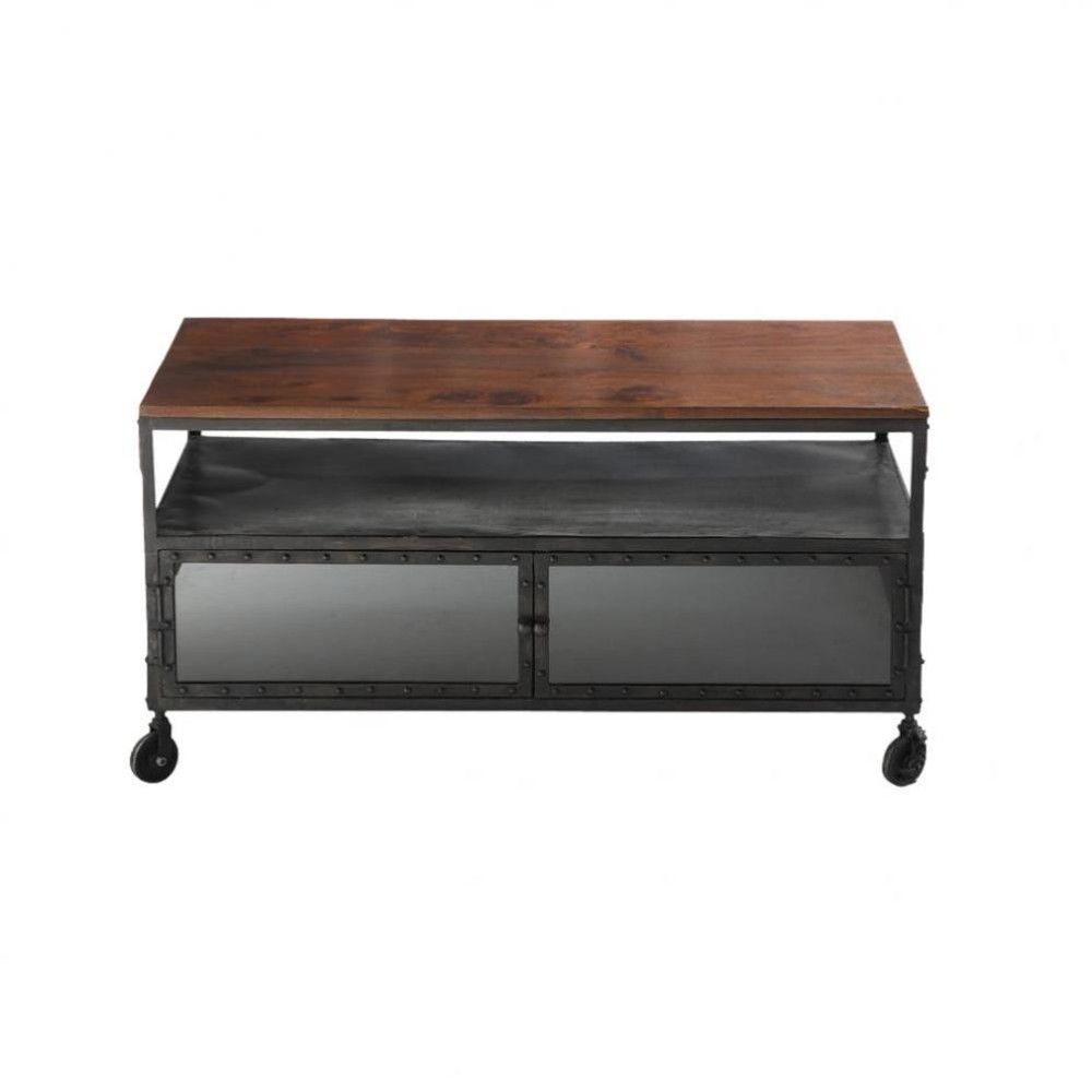 Solid Sheesham Wood And Metal Tv Unit On Castors In Black W 110cm  # Punch Meuble Tv