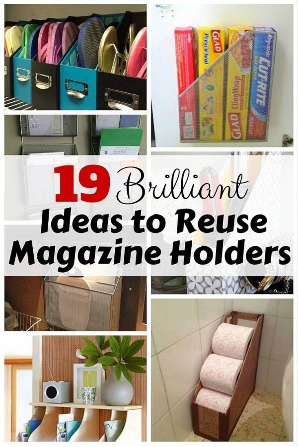 19 Brilliant Ideas To Reuse Magazine Holders Diy Magazine Holder Magazine Holders Closet Organization Diy