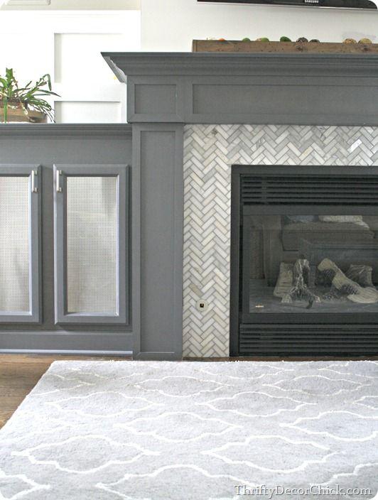 Modern Gray Slate Tile Fireplace Design Pictures Remodel Decor
