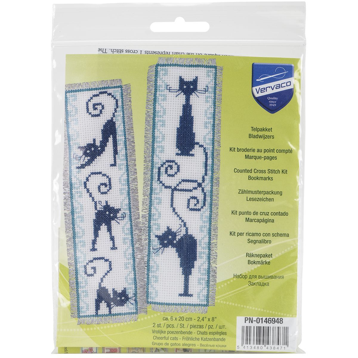Cheerful Cats Bookmarks On Aida Counted Cross Stitch Kit