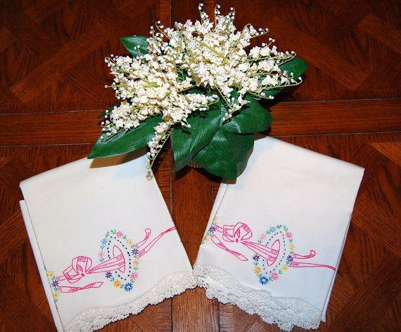 Pink Ribbon Pillowcases by CheekyVintageCloset on Etsy, $22.00