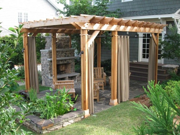bonita pergola de madera con cortinas - Pergolas Baratas Para Jardin