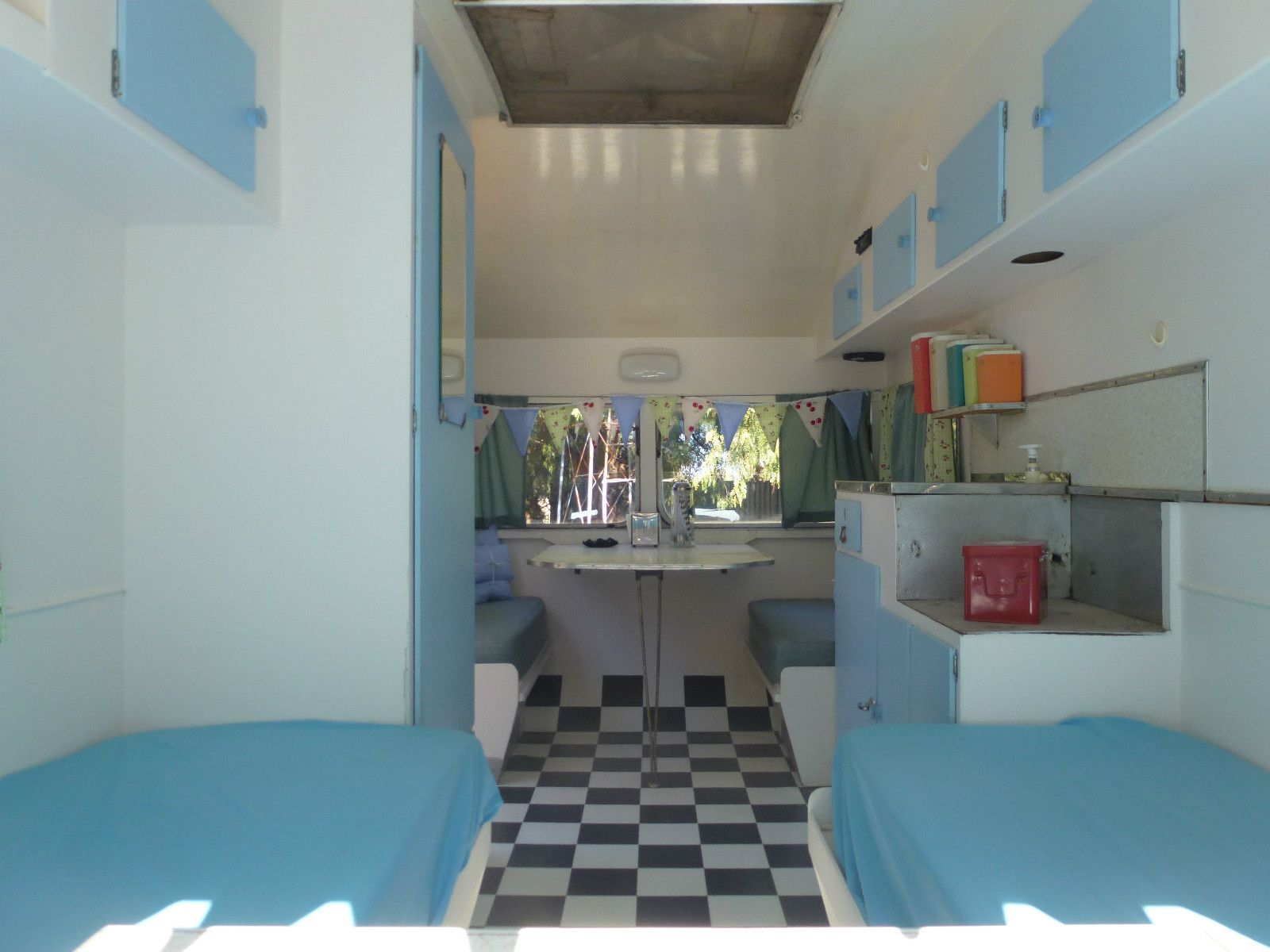 Australian vintage caravan interior blue vintage for Interior caravan designs