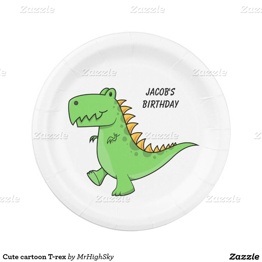 Cute cartoon T-rex 7 Inch Paper Plate  sc 1 st  Pinterest & Cute cartoon T-rex 7 Inch Paper Plate | Home and kitchen stuff ...