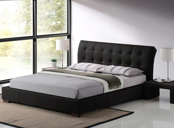 Boston Contemporary Black Faux Leather Bed Frame