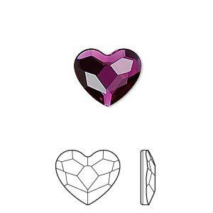 Flat back, Swarovski crystal hotfix rhinestone, fuchsia, foil back, 14mm faceted heart (2808). Sold per pkg of 96.