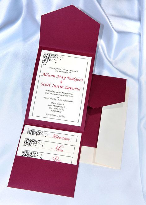 Print Your Own Burgundy Wedding Invitations, Burgundy Pocket Wedding  Invitations, Burgundy Printable Invitation Kits