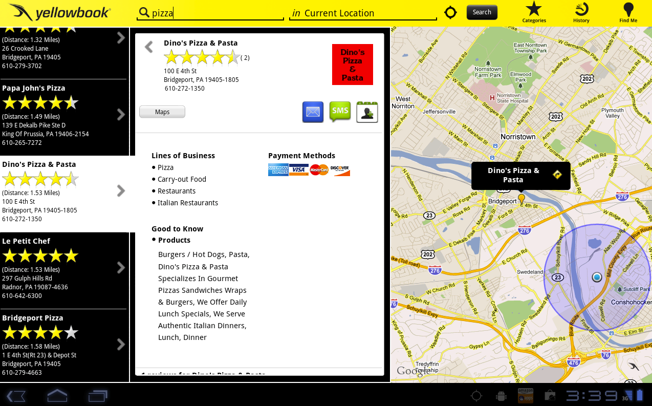 The design for the Yellowbook Android tablet app. It is