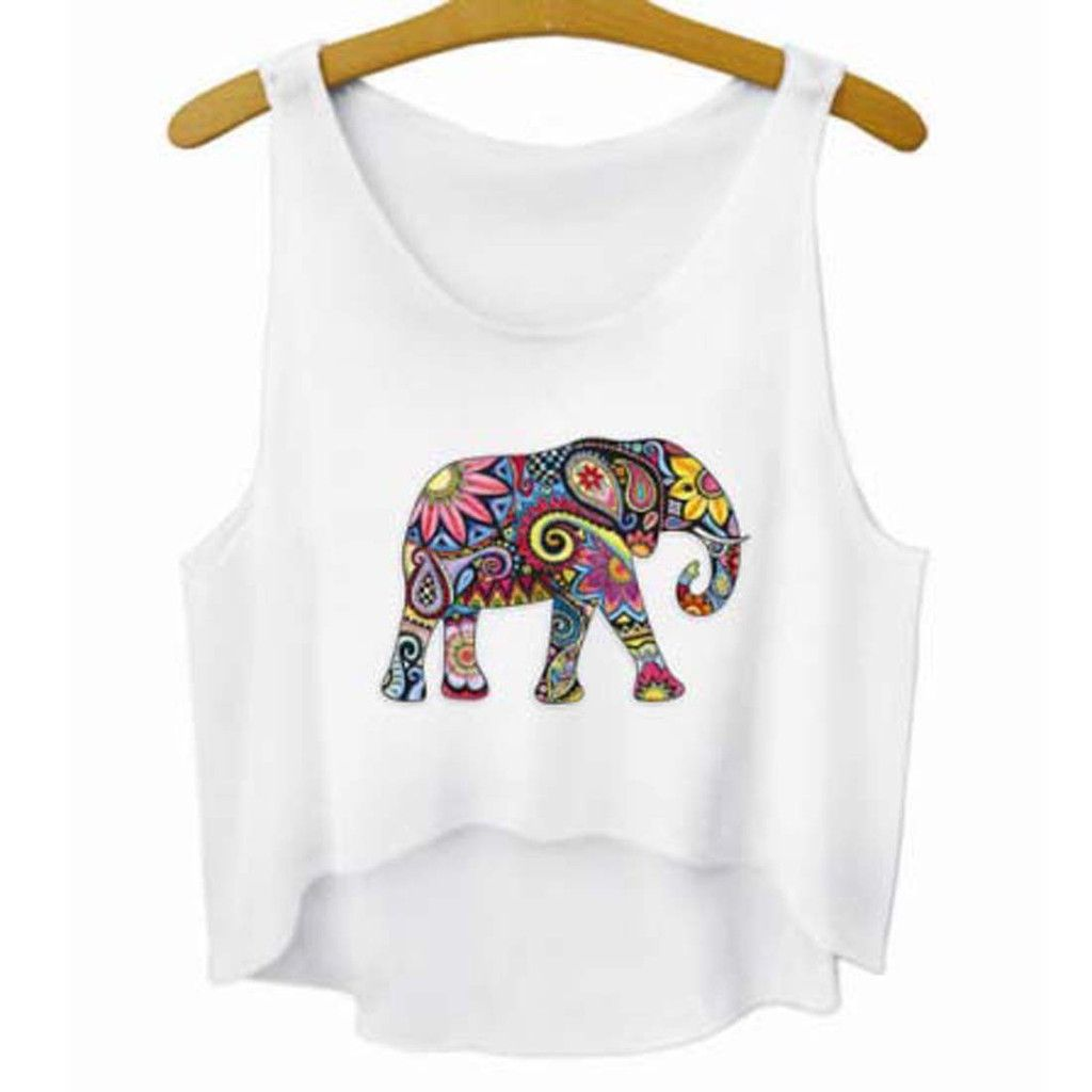Colorful Floral Print Elephant Silhouette Crop Top Tee $15.99 #t-shirts #elephants #India #animals #fashion #cute