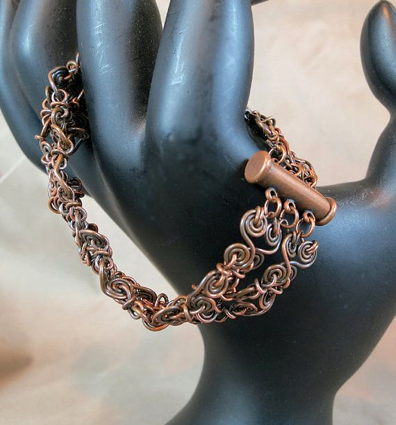 Pure Copper Bracelet - Chain Maille like pattern - Choose the Length