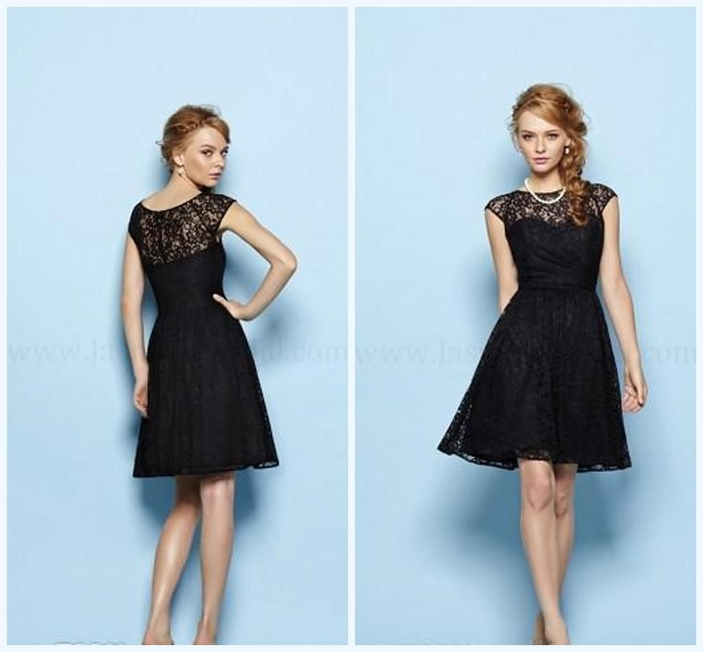 2014 New Black Lace Simple Bridesmaid Dresses Sheer Back Crew A-Line ...