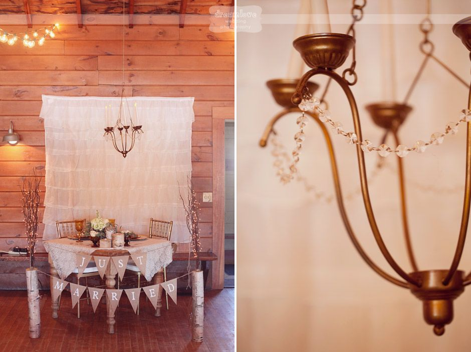 Love this!  Hang a vintage chandelier above sweetheart table for romantic ambiance!  With birch logs and ruffled tier backdrop...  Vintage Anthropologie style wedding photography from a recent wedding at the Bluewater Farm in NH.