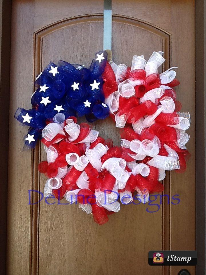 Patriotic heart shaped deco mesh wreath