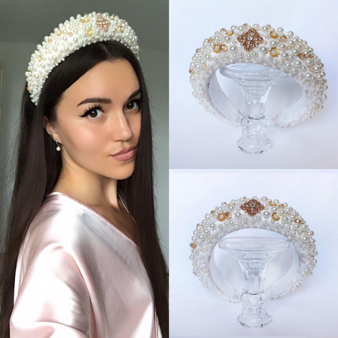 Bridal headpiece gold bridal headband Bridal pearl headband   Etsy #bridalheadpieces