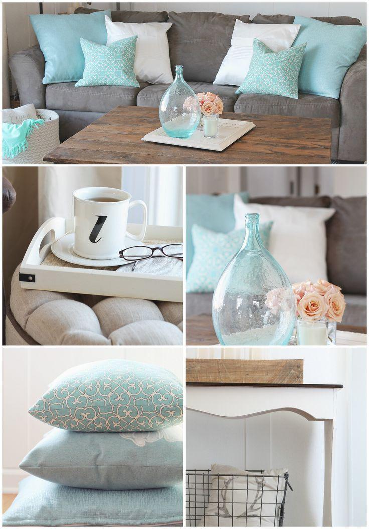 cozy farmhouse living room aqua and blush