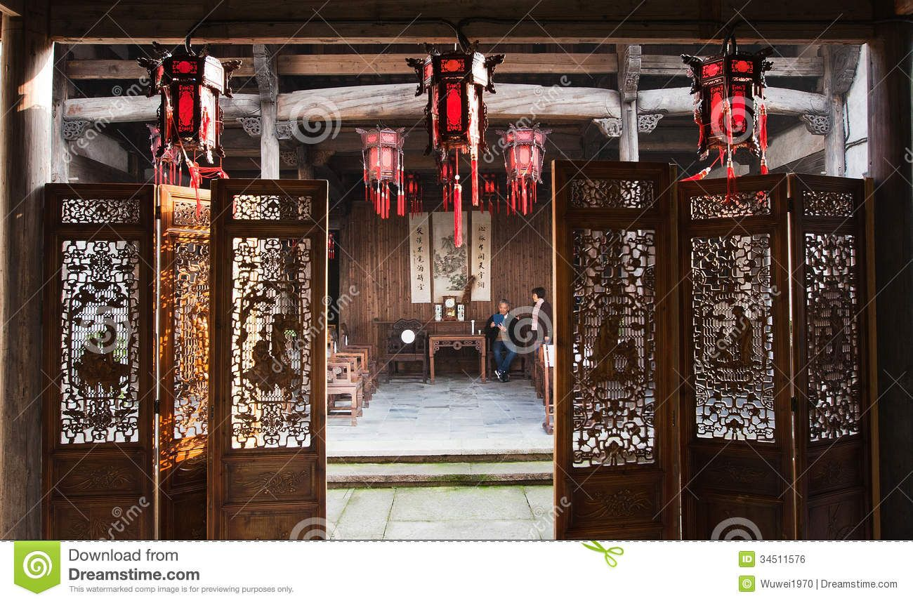Ancient chinese home interior - Old House Of China Editorial
