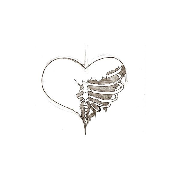 Broken Heart Sketch Liked On Polyvore