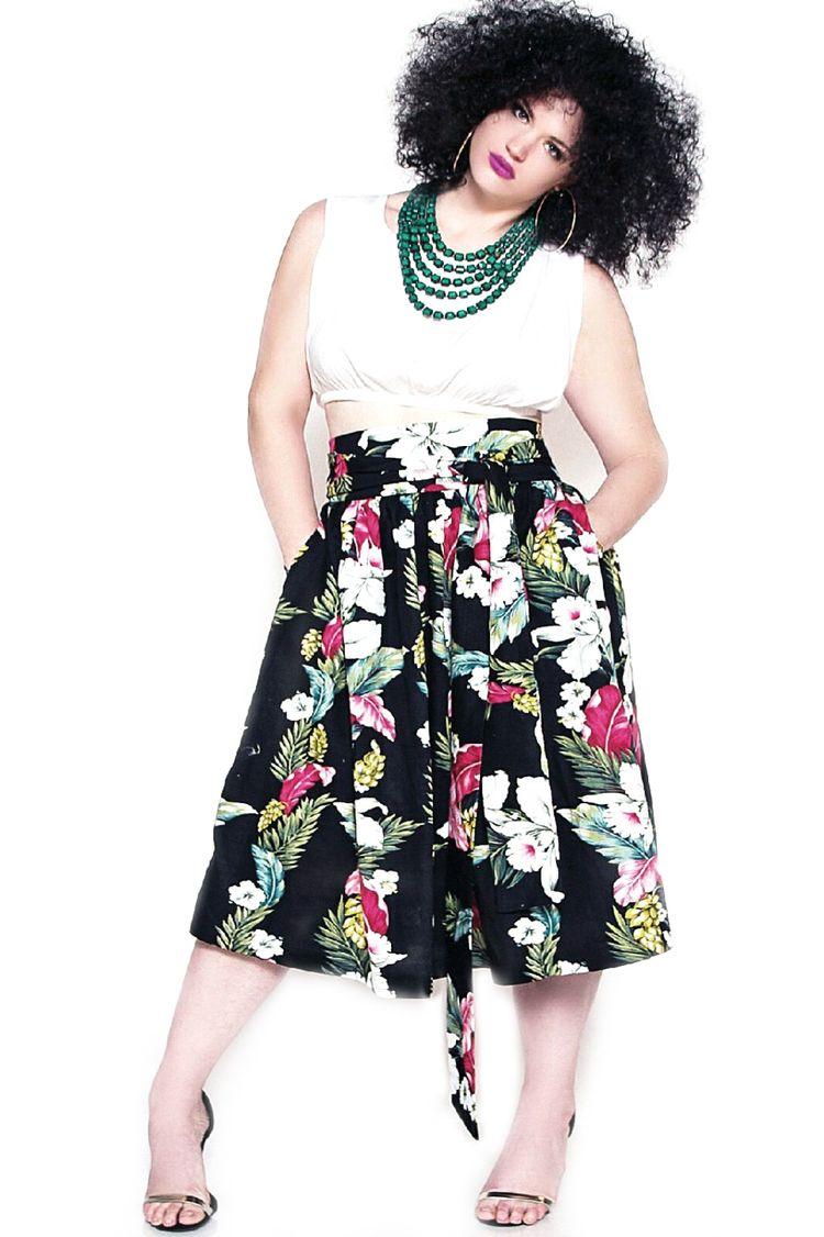 Plus Size Fashion - JIBRI High Waist Belted Print Flare Skirt