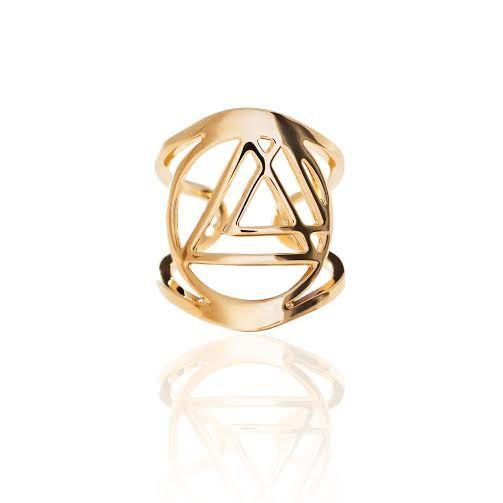 Anello fascia regolabile con logo centrale bagno oro 18kt #fashion #bijou #gold #ring #anello #solare #enregia #moda #oro