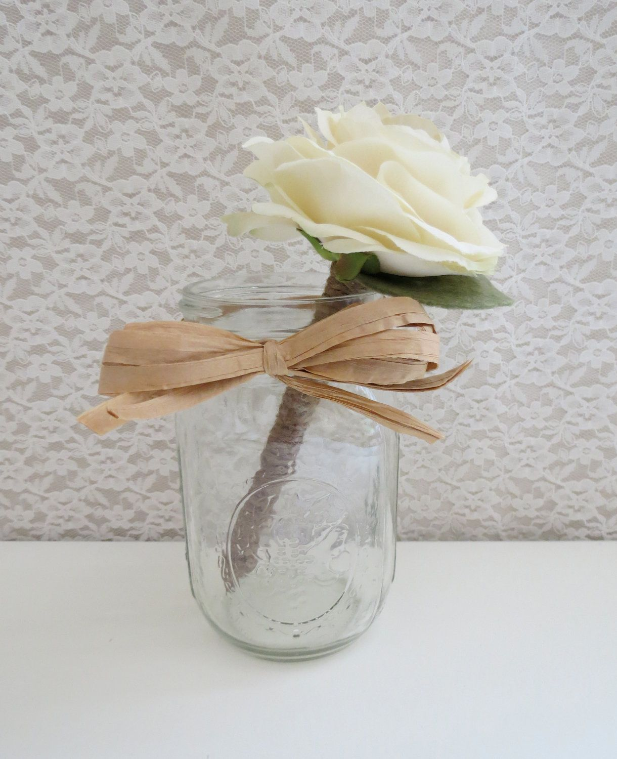 Madison Flower Pen with Vintage Mason Jar - Your Choice of Flower ...