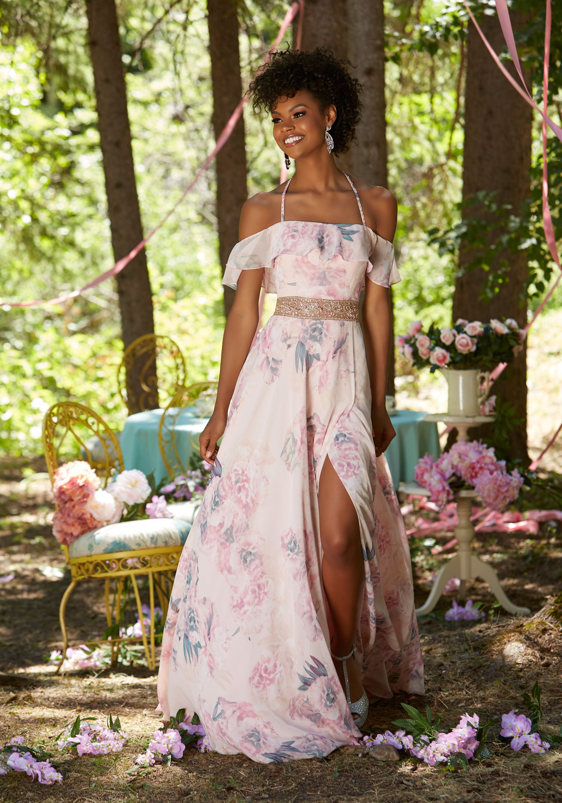 b7ae4a75ad1 Prom Dresses by Morilee designed by Madeline Gardner. Floral Printed  Chiffon Prom Dress with Off-the-Shoulder Ruffled Neckline