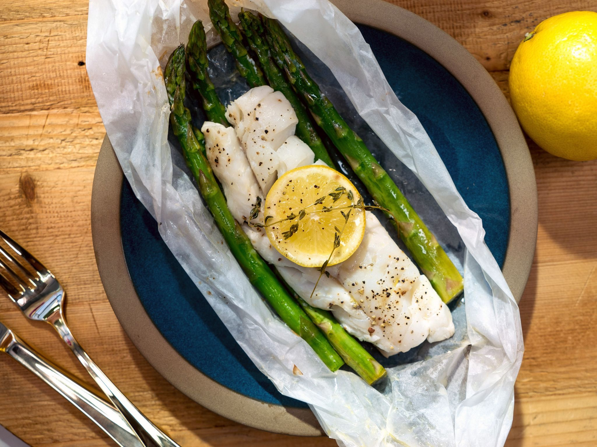 Package parceled cod recipe recipes sauces and asparagus for Grilled cod fish recipes