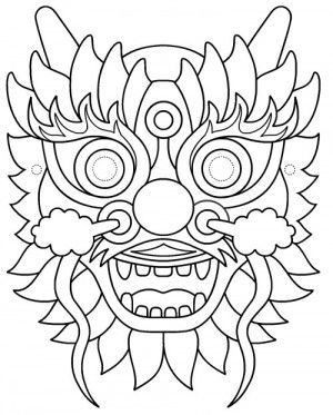 Chinese New Year Dragon Face Coloring Page In 2020 Chinese New