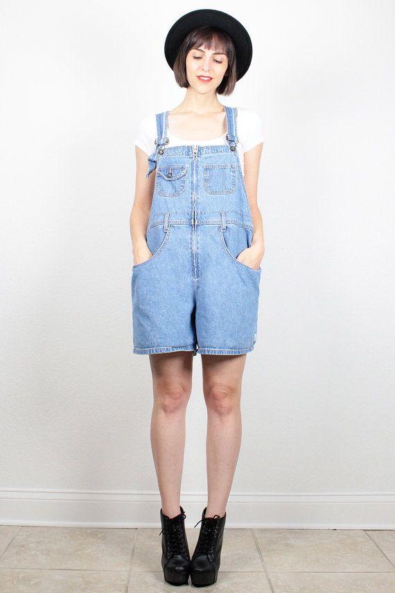 e84e46b40368 Vintage Denim Overalls Womens Overall Shorts Blue Jean Jumper Shortalls  Dungarees 90s 1990s Soft Grunge Romper