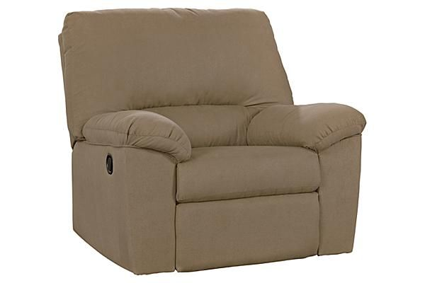 "The Kickoff Rocker Recliner from Ashley Furniture HomeStore (AFHS.com). The soft comfortable fabric of the ""Kickoff-Mocha"" upholstery collection beautifully surrounds the supportive divided back cushioning along with plush padded arms creating a relaxed contemporary design that is sure to be the perfect addition to any living room décor."