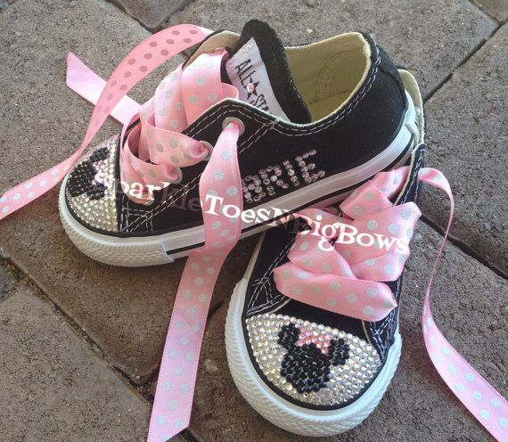b35bb0275d7b ... Toddler Hi Top Rhinestone Converse Bling Shoes on Etsy. Custom Minnie  Mouse Name Swarovski by SparkleToesNBigBows on Etsy