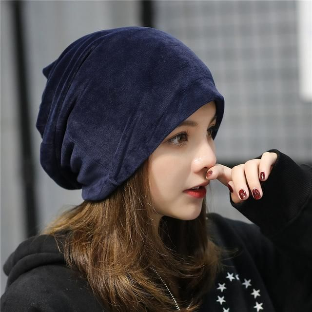 495d7f957f3 Women Velvet Hats Winter Girls Warm Hats Winter Autumn Ear Warmer Beanie  Gorro Ladies Casual Skullies Cap