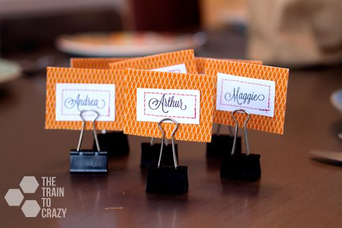 Easy Name Place Holders By The Train To Crazy Diy Name Tags Name Card Holder Place Settings Thanksgiving