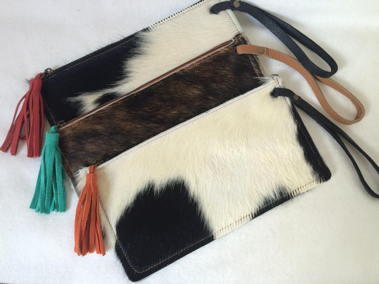 Leather Fringe Tassel 8.25x6 Gifts for her Cowhide Wristlet Clutch Real Leather Wristlet Double Sided Natural Cowhide