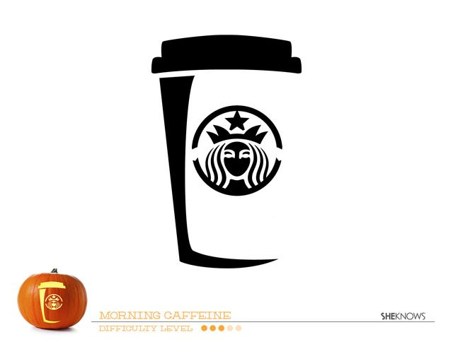 Starbucks cup pumpkin carving template
