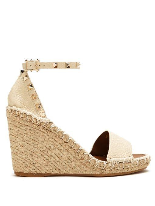 0243415331c5 VALENTINO Rockstud Leather Espadrille Wedge Sandals.  valentino  shoes   sandals