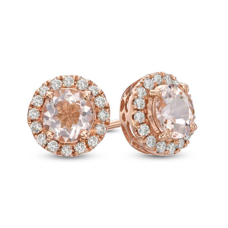 T W Diamond Frame Stud Earrings In 14k Rose Gold