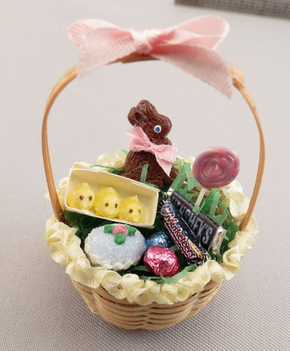 Dollhouse Miniature Filled Easter Basket by miniholiday on Etsy, $24.99  I could make this