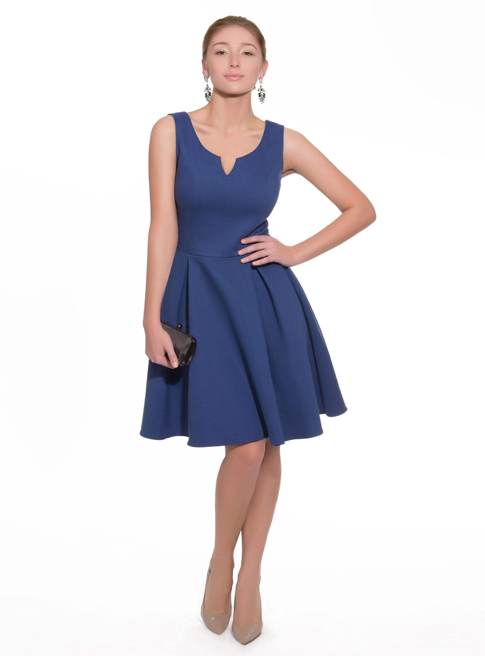 Dress Lia 1-290, in Blue, for a big bust
