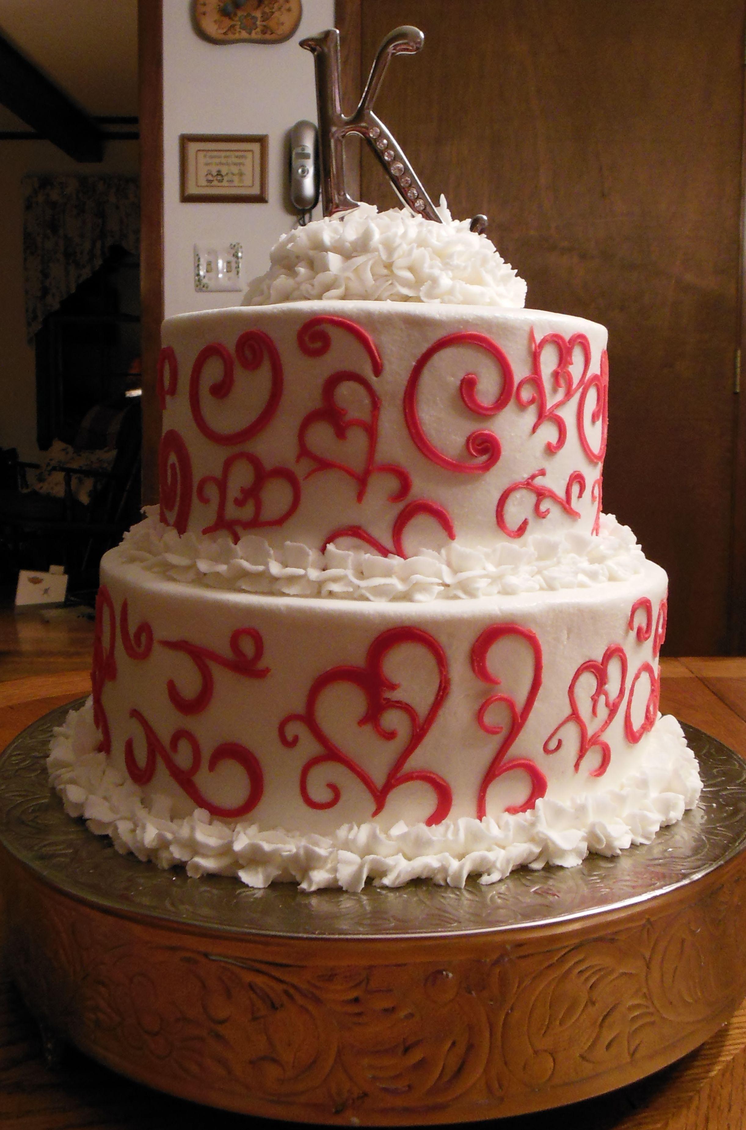 Valentine S Day Wedding Cake 10 8 Round Iced In Buttercream With