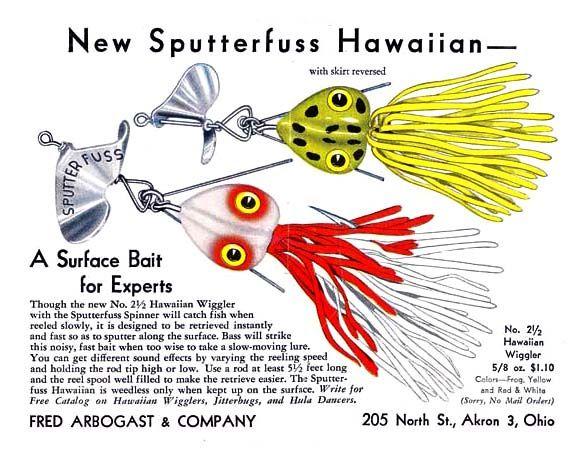 Sputterfuss hawaiian wiggler 1946 bass fishing for Hawaii fishing lures