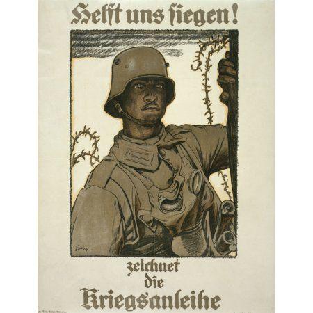 German Poster 1917 Help us triumph Canvas Art - Fritz Erler (18 x 24)