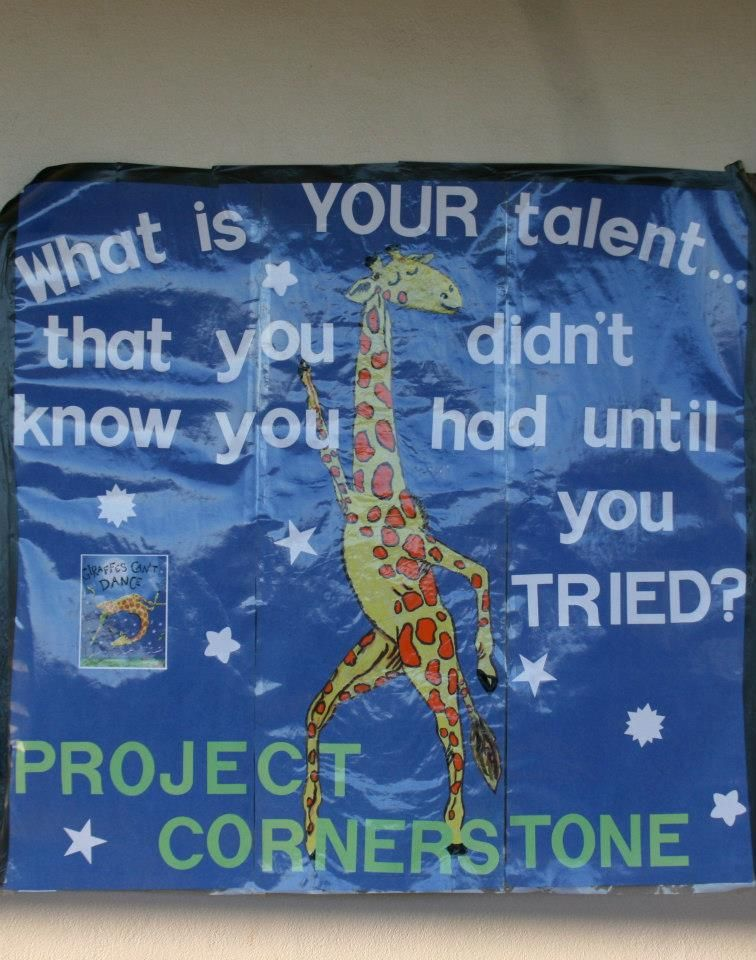 www.projectcornerstone.org  A Giraffe's Can't Dance poster from one of our school partners.