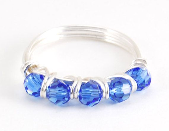 Beaded Ring Sapphire Swarovski Crystal Wire Wrapped Ring   Draht ...