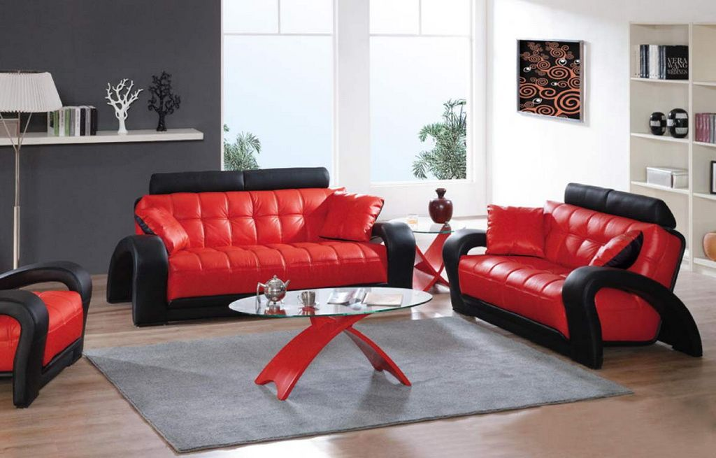 Red Leather Living Room Furniture Set Affordable Decor Ideas 2017 And Black Sofas A Striking Luxurious Look