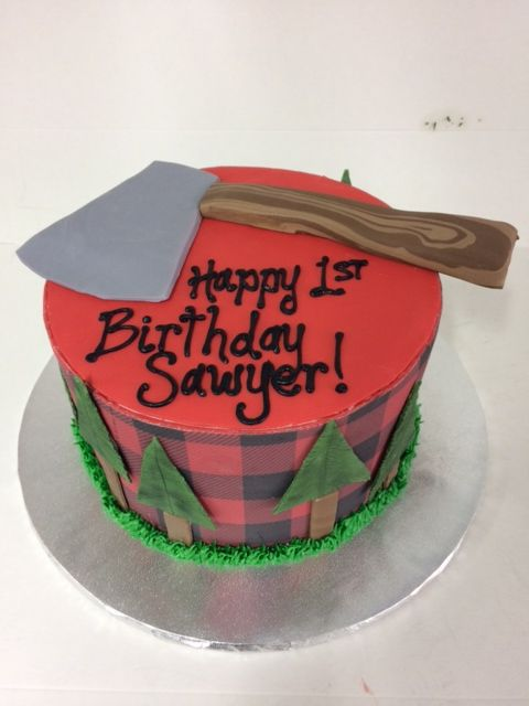 Custom Lumber Jack Themed First Birthday Cake Are By Creations In Rockford IL