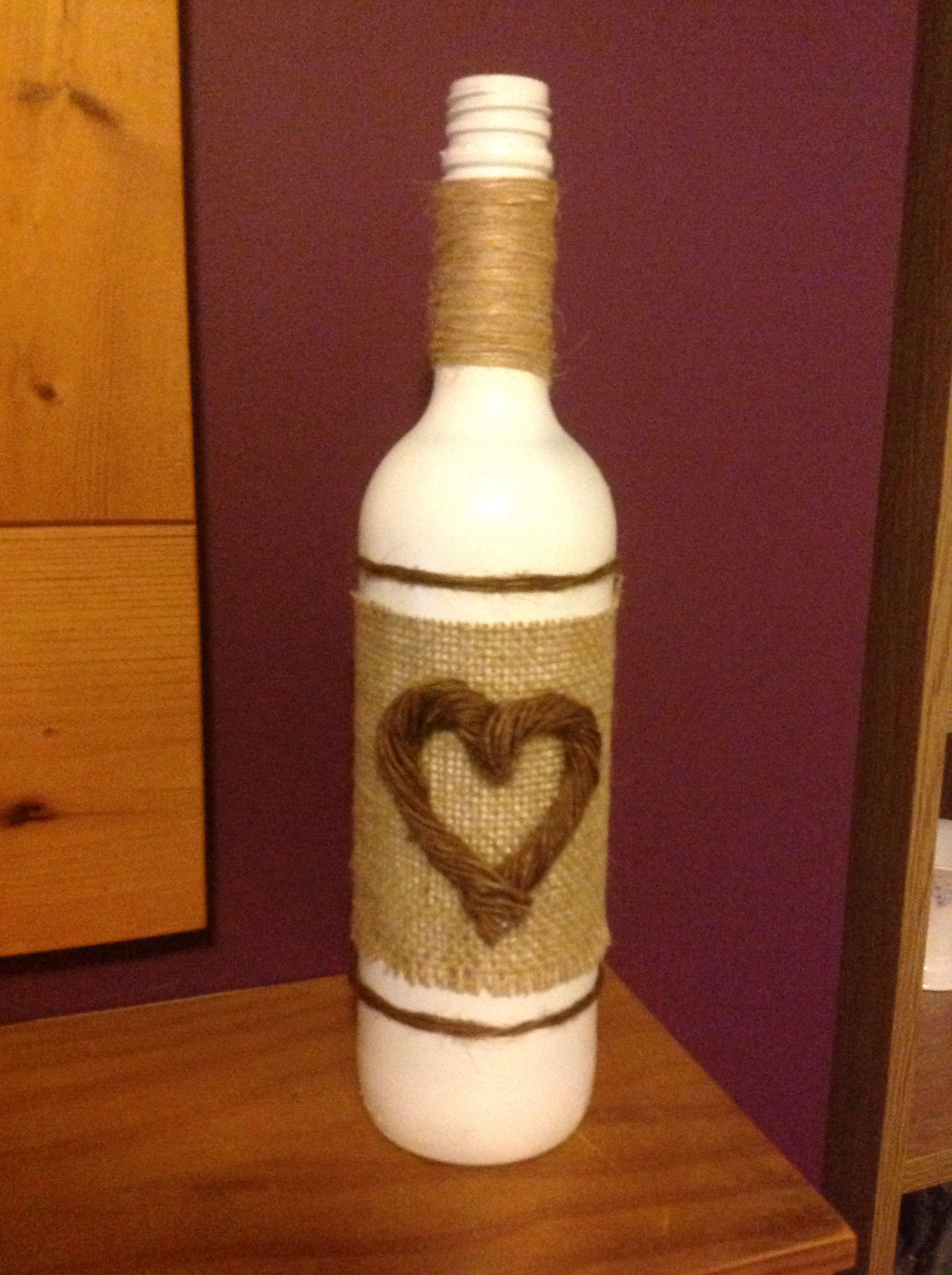 Hessian Covered Wine Bottle With Heart Butylka Podelki Butylka Podelki