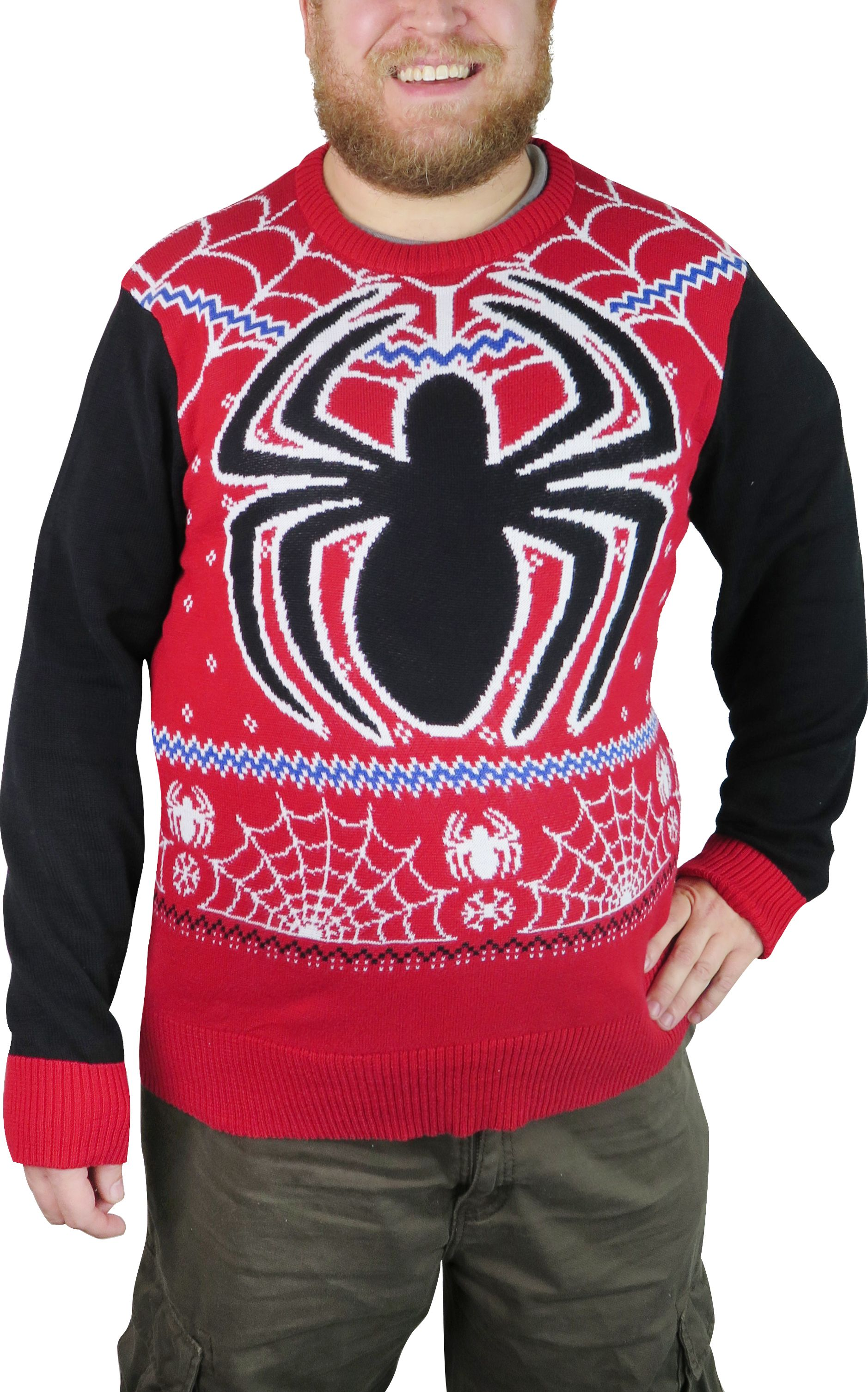 Superhero Ugly Christmas Sweaters.Spiderman Snowflakes Men S Ugly Christmas Sweater Holiday