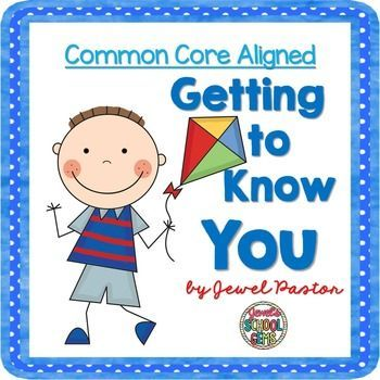 """This 'Getting to Know You (Common Core Aligned)' resource has 40 cards bursting with essential questions for an all about me activity. Using these cards, students, and even the teacher, can talk about themselves and learn about others. The questions include basic ones like """"What is your full name?"""" and open ended-ones like """"What is your favorite time of the day and why?"""" These cards can be used one-on-one or in a group."""