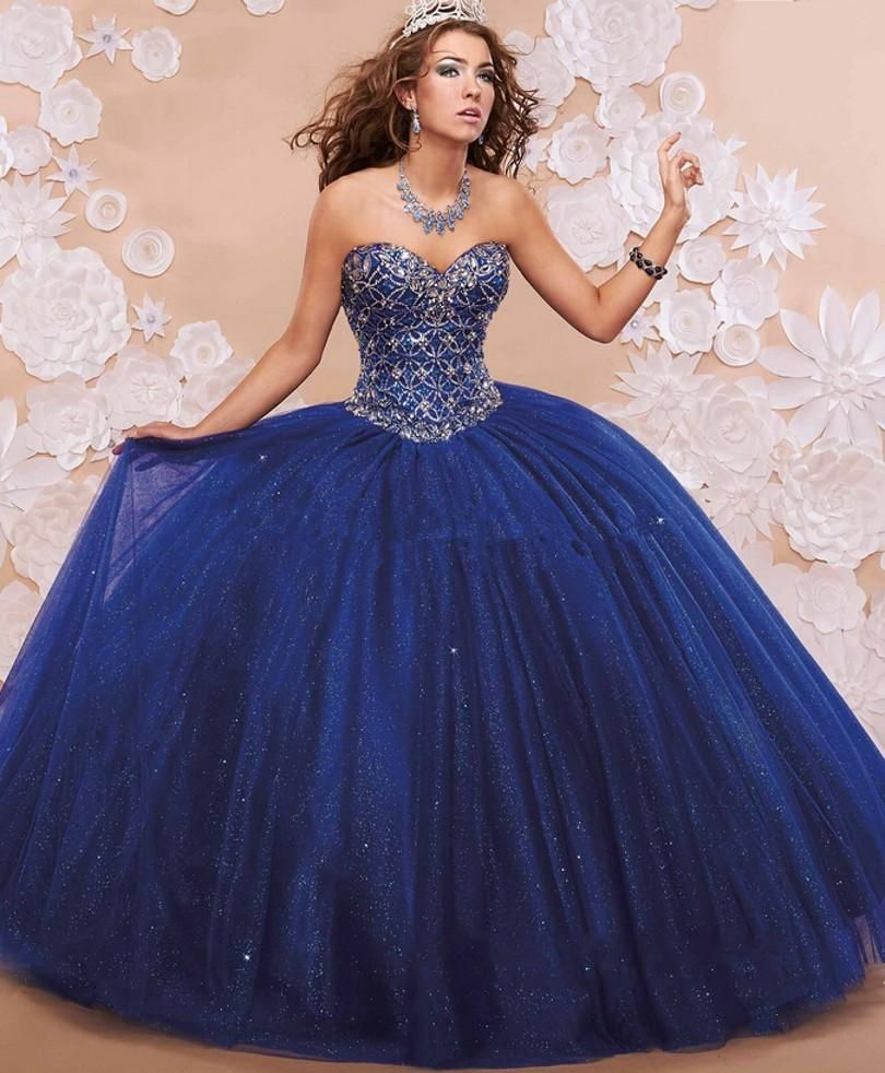 2016 New Royal Blue Quinceanera Dresses Ball Gown With